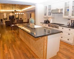 ... Interesting Bamboo Floor In Kitchen : Tropical Kitchen Bamboo  Herringbone Wall Island Dark Glossy Countertops ...