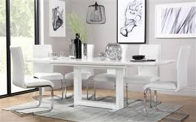 tokyo white high gloss extending dining table and 8 chairs set perth white