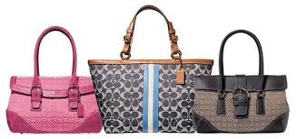Coach designs in leather and canvas or nylon from 2005, 2007 and 2006 (left