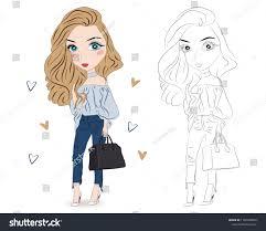 Set Hand Drawn Beautiful Cute Fashion Stock Vector Royalty Free