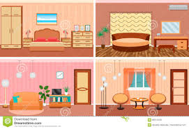 Flat Hall Design Four Living Room Interiors In One Set Bedroom And Hall