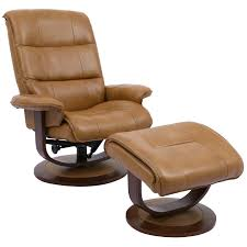 parker house mkni 212s but knight manual reclining swivel chair ottoman in caramel brown top grain leather