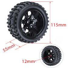 <b>4Pcs RC Rubber Tires</b> & Wheel Rims Sponge Inserts 12mm Hex for ...