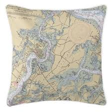 Beaufort And Ladys Island Nautical Chart Pillow Carons