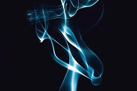 Abstract Blue Smoke On Black Background