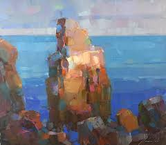 cliffs oil painting by palette knife painting by vahe yeremyan