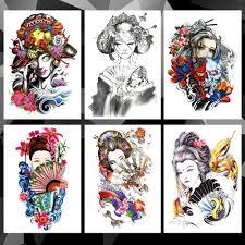 водонепроницаемая временная татуировка наклейка японская гейша узор