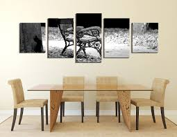 5 piece canvas print dining room wall decor modern huge canvas art grey on large grey canvas wall art with 5 piece multi panel art modern huge canvas print bench large