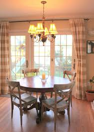 sliding glass door curtain ideas...love the country chairs and the ...