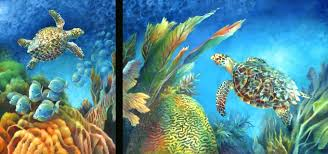 hawksbill turtles blue tang brain c underwater sea life