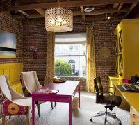 home office artwork. Office Artwork Ideas Home Office Contemporary With Yellow Bookcase  Desk Brick Wall