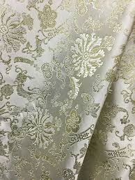 Floral Brocade White Gold Metallic Floral Brocade Fabric 56 In Sold By The Yard Ebay