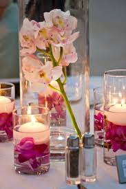 ... Vases Pink And Purple Wedding Centerpieces : Simple Dining Table  Decoration With White Table Sheet Also Floating ...