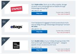 interesting 20x at ebags 6x at staples with aviator card targeted