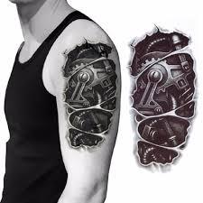 3d механическая рука крепление гайка татуировки наклейки для мужчин рука рука