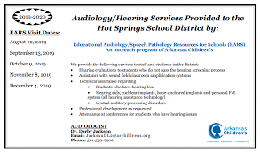 My Chart Arkansas Children S Audiology Services Provided To Hssd Via Ears Hot Springs