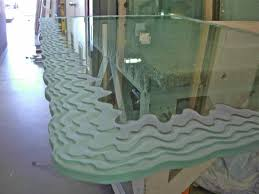 rectangle glass table top with wave edges