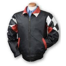 men s burk s bay leather checd flag jacket black red double tap to zoom