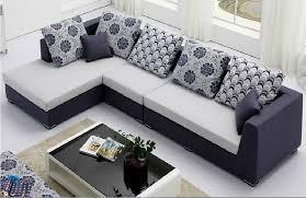 Sofa Design, Design Of Set For Drawing Room Rectangle Shaped Navy White  Blue Coloured Soft