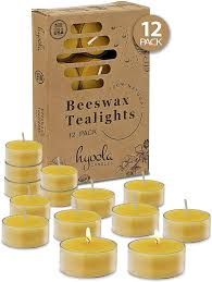 Beeswax Tea Lights Amazon Hyoola Pure Beeswax Tea Lights 12 Pack Handmade Decorative Unscented Tealight Candles 4 Hour Burn Time Clear Cup