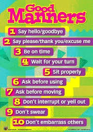 Good Manners Chart For Class 1 Information Design Teaching Kids Respect Manners For Kids