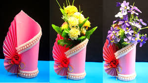 Flower Vase With Paper How To Make A Paper Vase At Home Diy Simple Paper Craft Paper