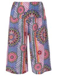2018 Trendy Ethnic Print Hit Color Pants For Women Colormix L In