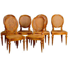 18th century set of six french dining chairs louis xvi period for
