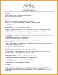 College Student Resume Format Math Sample Teacher Resume Format