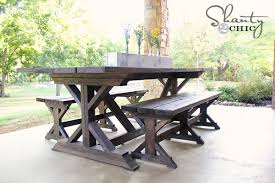 diy outdoor farmhouse table. Diy Bench Farmhouse Style Shanty 2 Chic Farm Table With Outdoor B