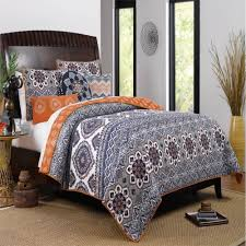 Moroccan Vintage Medallion Grey Orange Cotton Quilt Set | Cotton ... & Boho Chic Medallion Paisley Grey Orange Cotton Quilt Set - Trendy bohemian bedding  set in grey Adamdwight.com