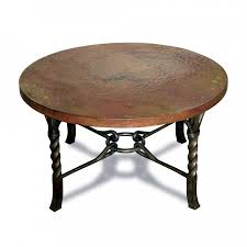antique and vintage round metal coffee table with brown top and