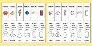 Solid Figures Faces Edges Vertices Chart Draw 2d Shapes And Make 3d Shapes Using Modelling Materials
