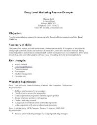Entry Level Marketing Cover Letter Magnificent Sample Resume For Entry Level Job Example Position Resumes Positions