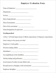 Employee Evaluation Forms Examples Printable Employee Evaluation Form Legrandcru Us