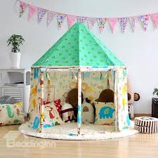 71 Animals Pattern Green Hex-angular Cotton Cloth Kids Indoor Tent