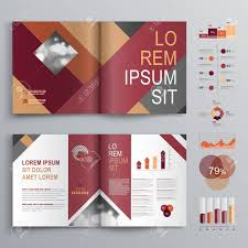 Fashion Brochure Template Design With Red And Gray Square Shapes ...