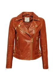 gold coloured metal details like zips press studs and buckles give this high quality leather biker jacket its rocker elegance