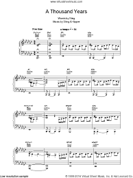 a thousand years piano sheet music sting a thousand years sheet music for voice piano or guitar