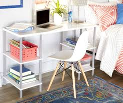 just home white 4 shelf trestle desk