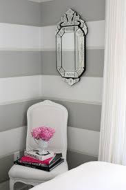 White Gray Pink Bedroom Design With White U0026 Gray Yellow Horizontal Striped  Painted Walls, Venetian Mirror, White French Chair And Hot Pink Accents.