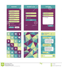 Mobile Interface Vector Template In Flat Style For Material