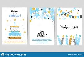 Templates For Birthday Cards Happy Birthday Cards Set In Blue And Golden Colors