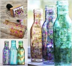 Decorative Things To Put In Glass Jars Decorated Glass Bottles Home Design Plan 30