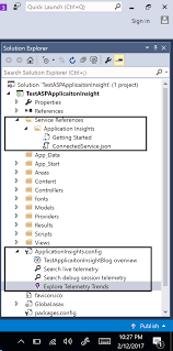 getting started application insights step 9 let s create an employee model employee cs in models folder and employee controller employeecontroller cs in controllers folder