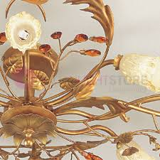 roncade ceiling light with 8 lights wrought iron floine style fl
