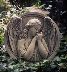 stone garden angel wall plaque hanging