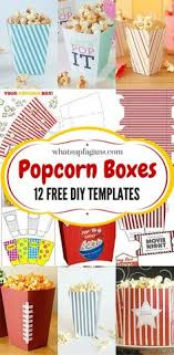 Decorative Popcorn Boxes Great idea for Maddi's party Free printable popcorn boxes Great 26