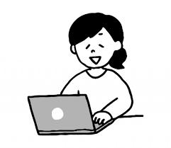パソコン作業する女性のイラスト 無料イラスト素材素材ラボ