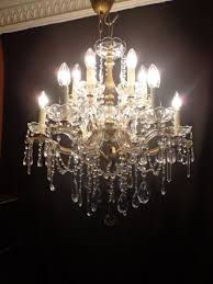 large french crystal chandelier bronze copper 12 light